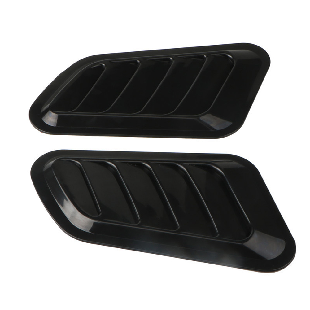 1 Pair Car Fake Vent Air Outlet Leaf-shaped Adhesive Universal Modified Hood Decoration black