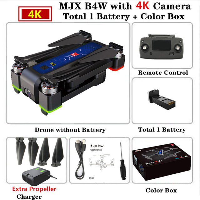 MJX B4W RC Drone GPS Drones with 5G WiFi 4K HD Camera Anti-Shake SD card GPS Optical Flow Follow Brushless Quadcopter VS X12 F11 Color box
