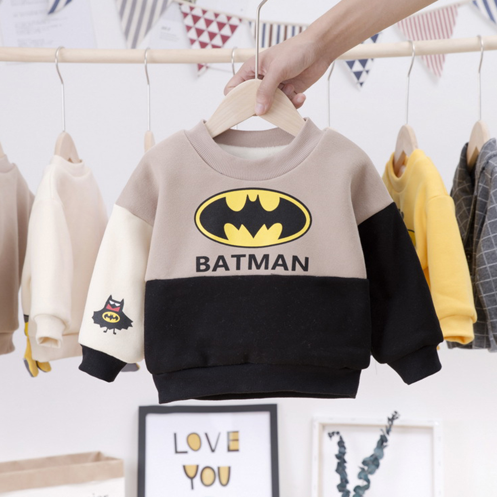 Long Sleeves Velvet Sweater with Cartoon Pattern Decor Winter Cotton Kids Pullovers Beige_100cm