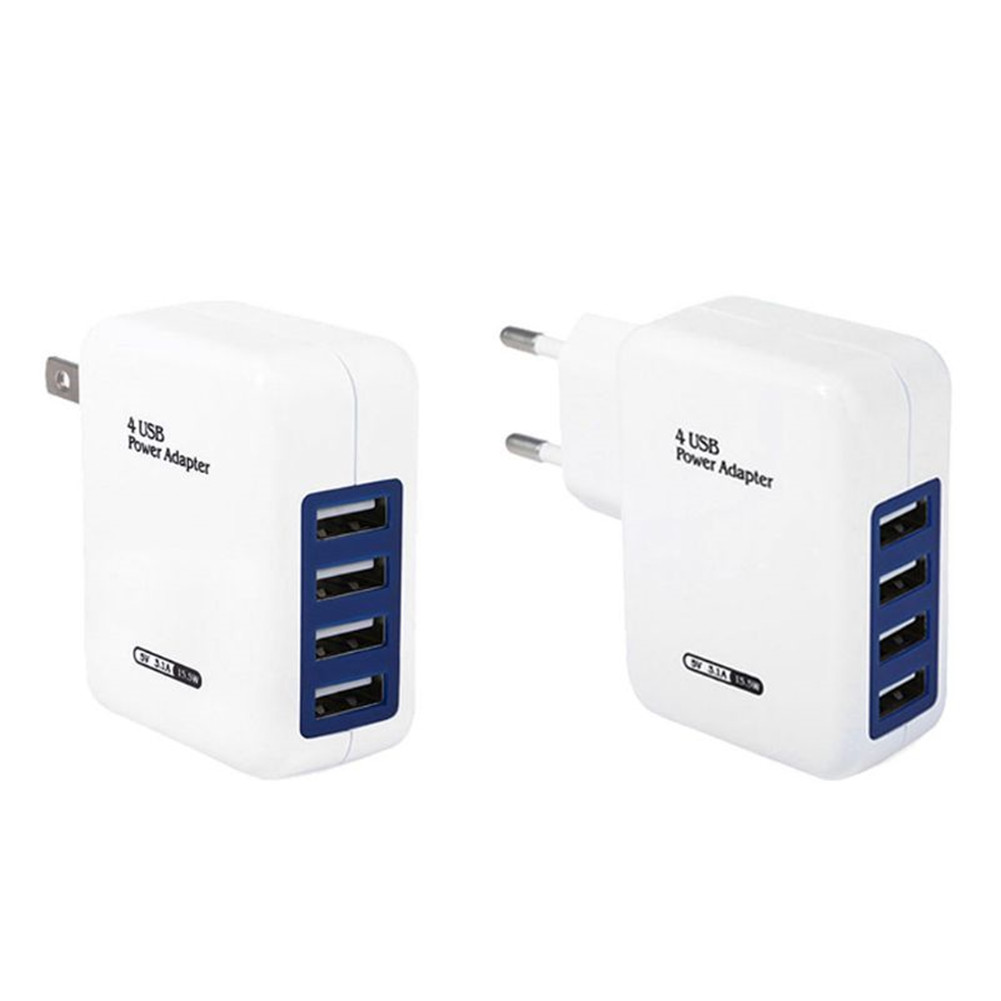 4 Ports USB 5V DC 3.1A Fast Charging Adapter Charger for Mobile Phone US Plug