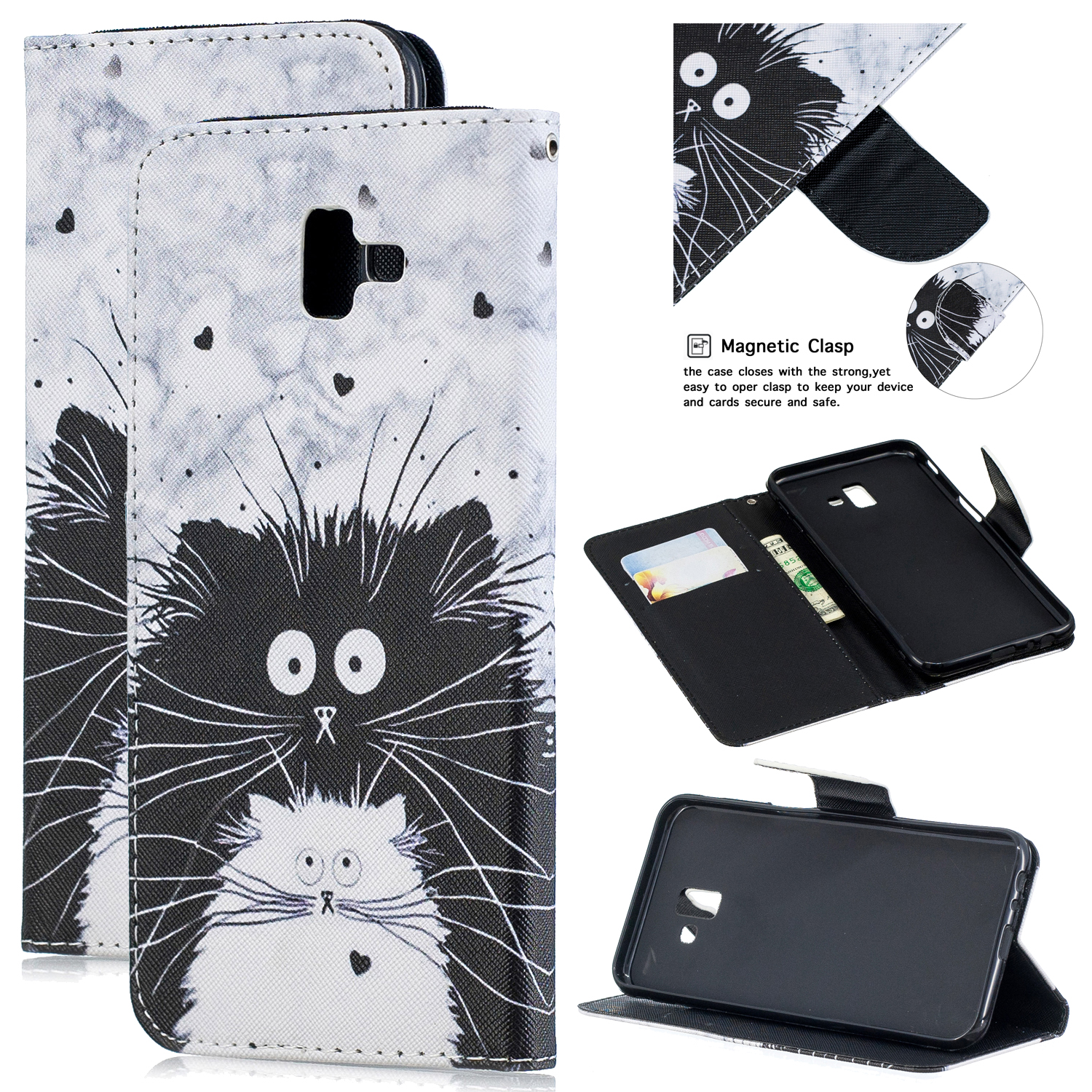 For Samsung J4 Plus/J6 Plus Cartoon Phone Shell Delicate Smartphone Case PU Leather Overall Protective Wallet Design Black white cat