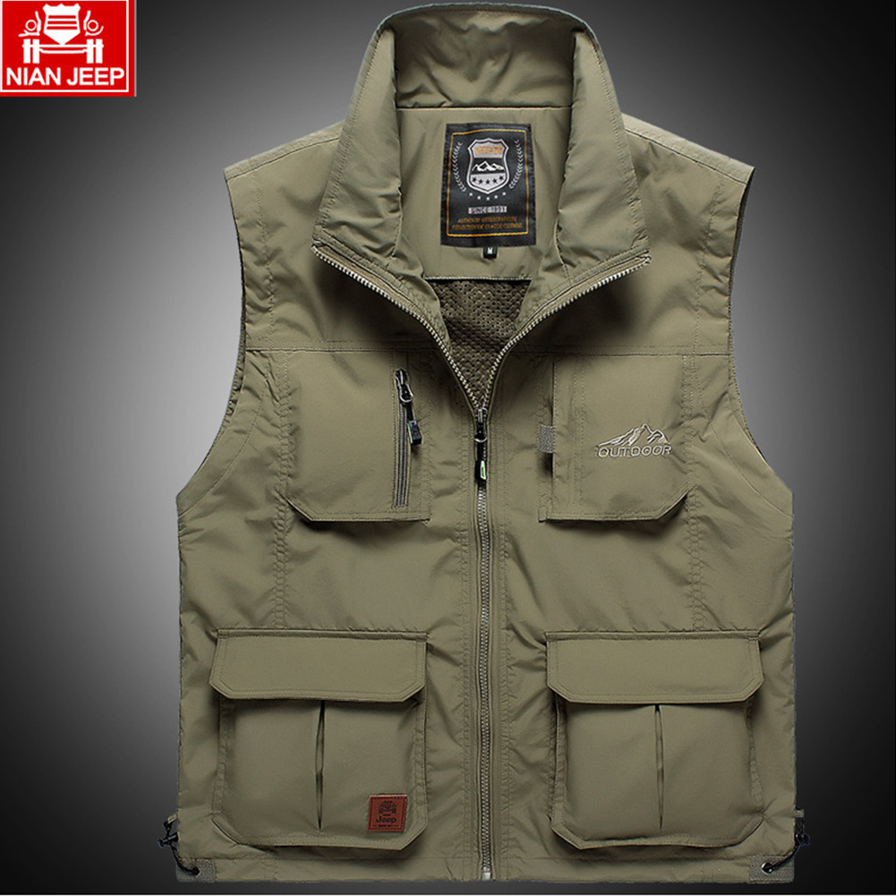 Outdoor Fishing Vest Quick-drying Breathable Mesh Jacket for Photography Hiking Khaki_M