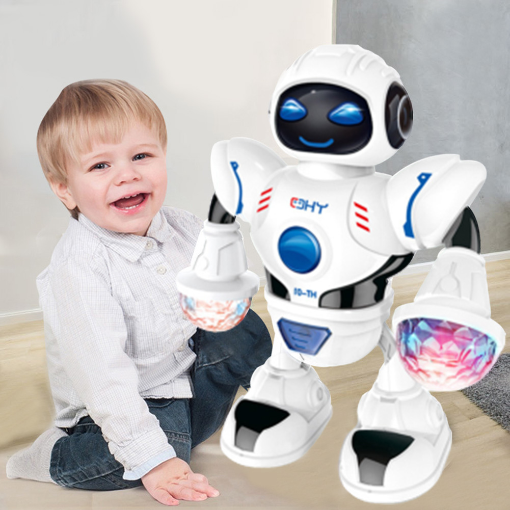 Smart Mini Robot Fun Robot Dancing Robot Toy Led Light Music Dance Robot white