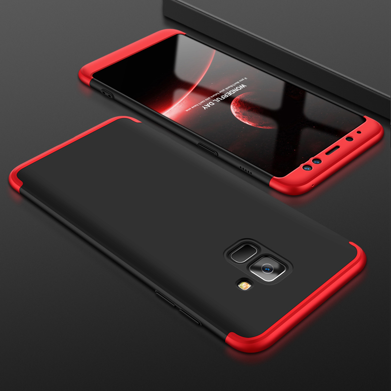 For Samsung A8 2018 360 Degree Protective Case Ultra Thin Hard Back Cover Red black red