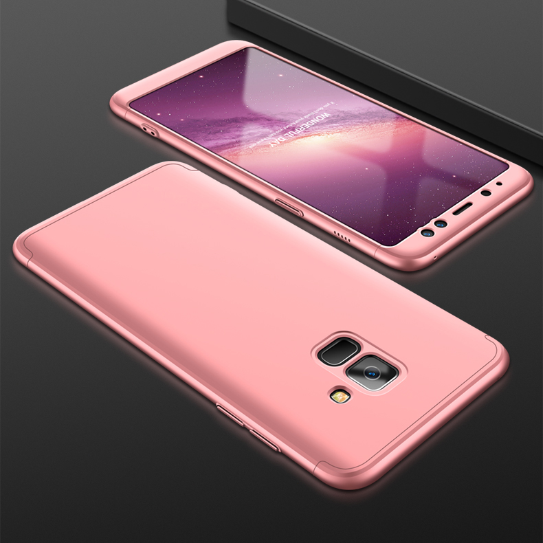 For Samsung A8 2018 360 Degree Protective Case Ultra Thin Hard Back Cover Rose gold