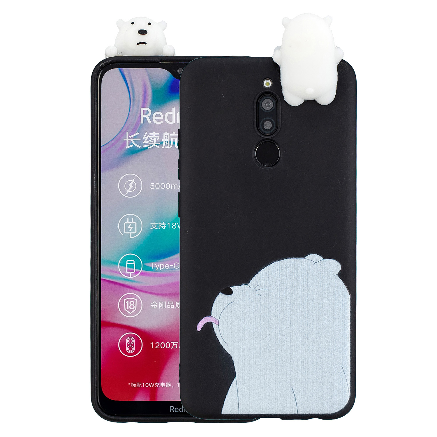 For Redmi 8/8A/5/Note 8T Mobile Phone Case Cute Cellphone Shell Soft TPU Cover with Cartoon Pig Duck Bear Kitten Lovely Pattern Black