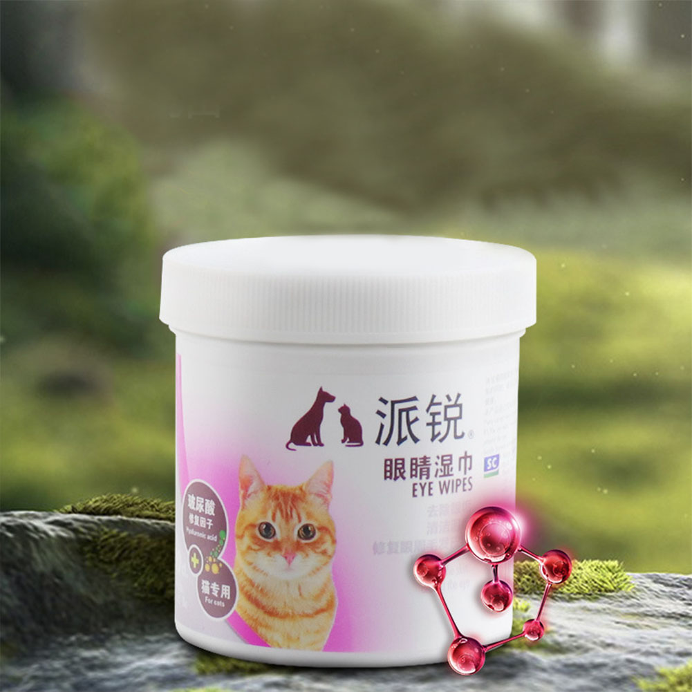 100Pcs Pet Hyaluronic Acid Repair Cleaning Wipes Tear Marks Remover for Cats 100pcs