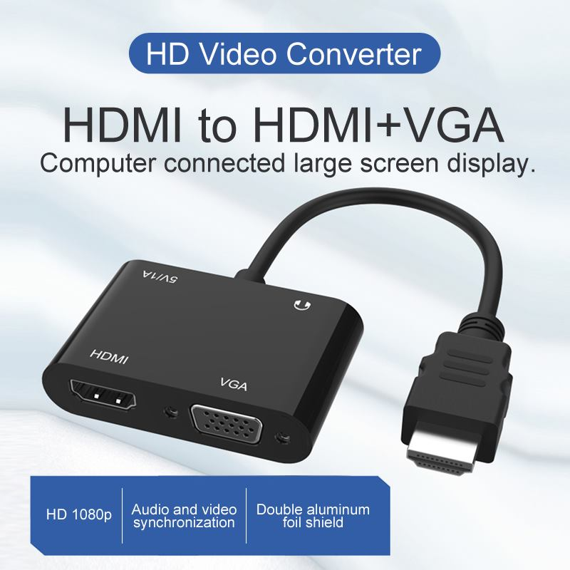 HDMI Converter Metal HDMI to HdKI/VGA/Micor Power Supply/3.5mm 4K HD Video Converter Supports Simultaneous Display black