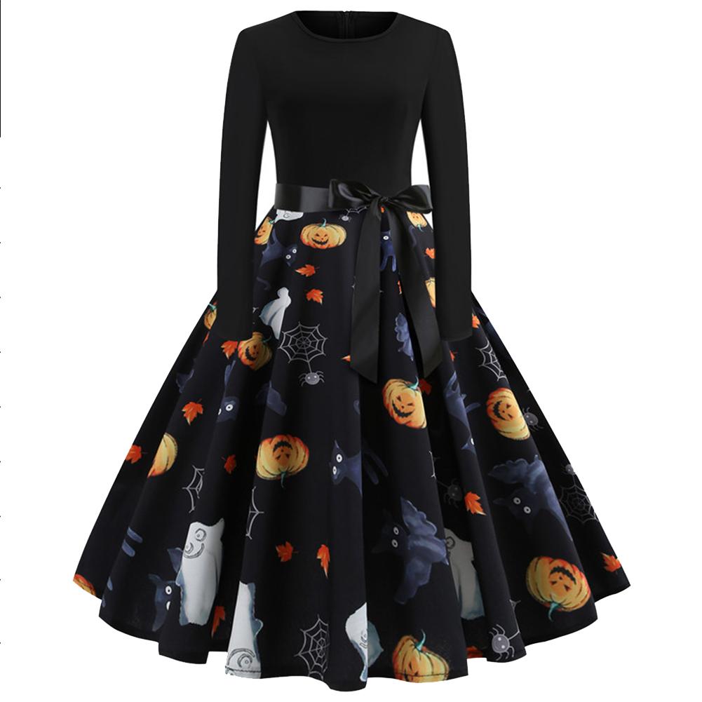 Halloween Pumpkin Print Dress with Long Sleeves and Belt JY13056_XL