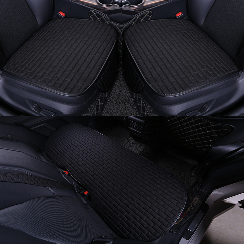 Car Seat Cover set Four Seasons Universal Design Linen Fabric Front Breathable Back Row Protection Cushion Classic black_Five-piece suit (small waist)