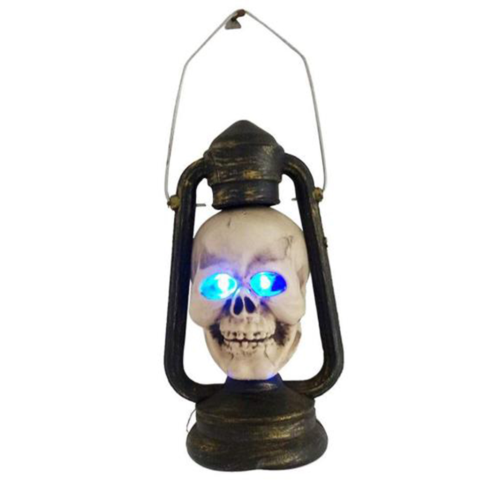 Halloween Haunters Skull Lantern Spooky Light Up Lamp for Halloween Horror Party Prop Room Decoration Tricolor lamp fat hemp face small horse lamp