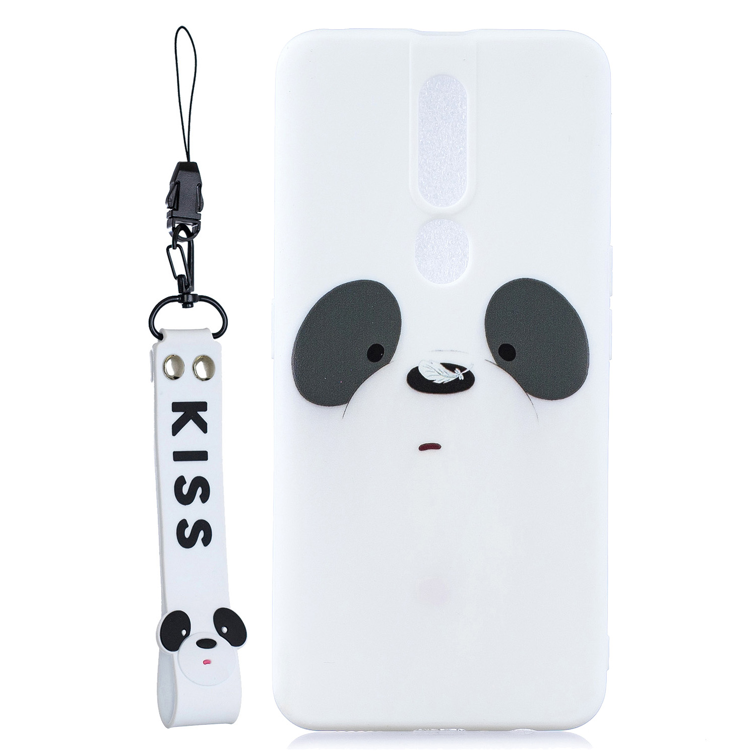 For OPPO F11 PRO Cartoon Lovely Coloured Painted Soft TPU Back Cover Non-slip Shockproof Full Protective Case with Lanyard white