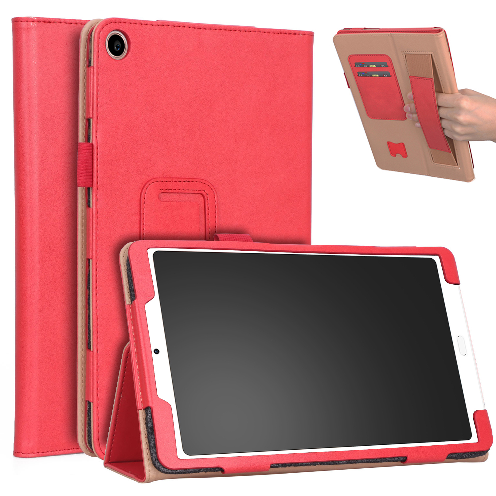 For Xiaomi tablet 4 plus 10.1 Retro Pattern PU Tablet Protective Case with Hand Support Card Slot Bracket Sleep Function red_Xiaomi tablet 4 plus 10.1