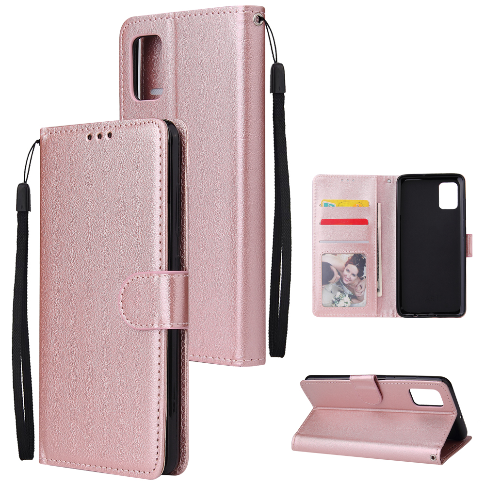 For Samsung A71 Phone Case PU Leather Shell All-round Protection Precise Cutout Wallet Design Cellphone Cover  Rose gold