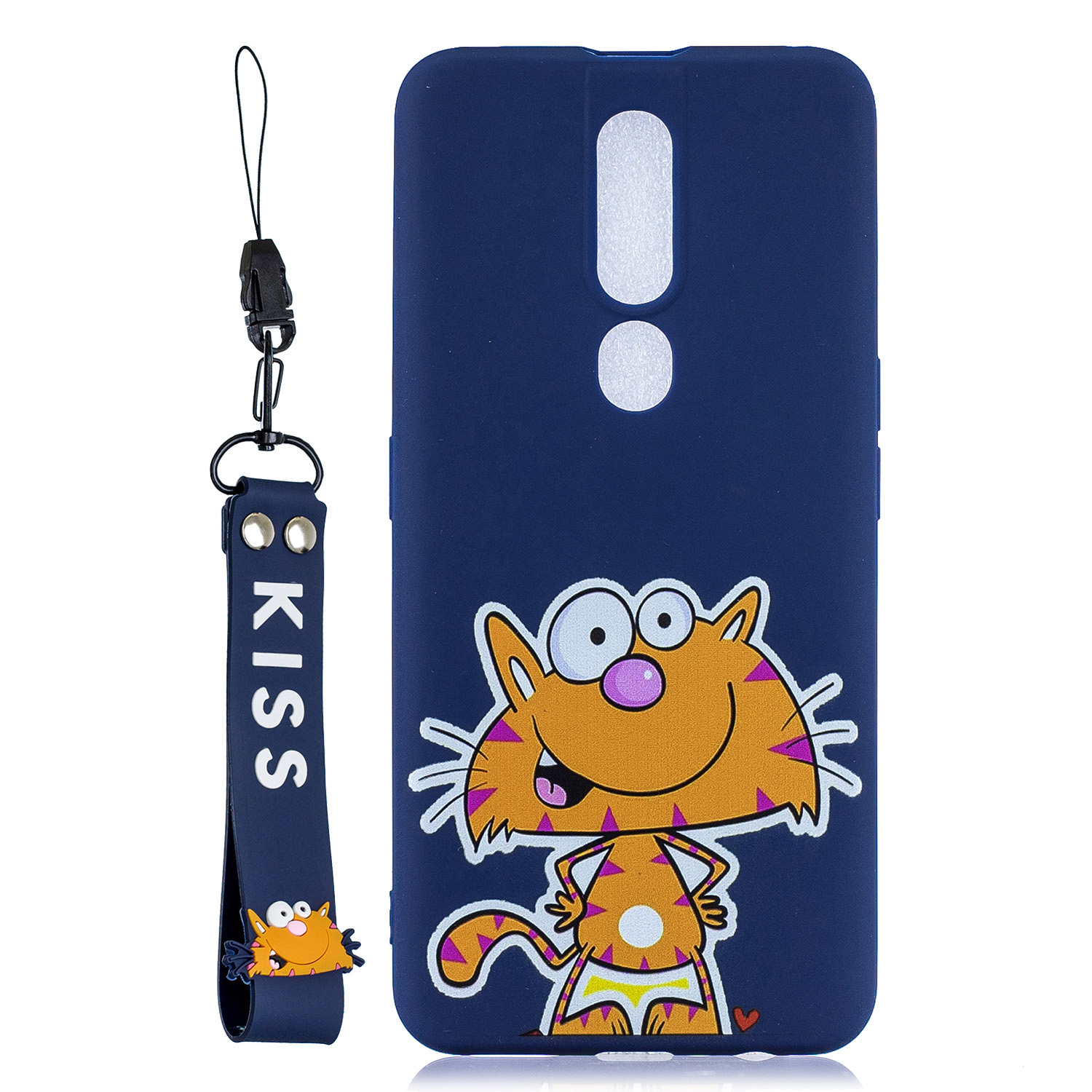 For OPPO F11 PRO Cartoon Lovely Coloured Painted Soft TPU Back Cover Non-slip Shockproof Full Protective Case with Lanyard sapphire