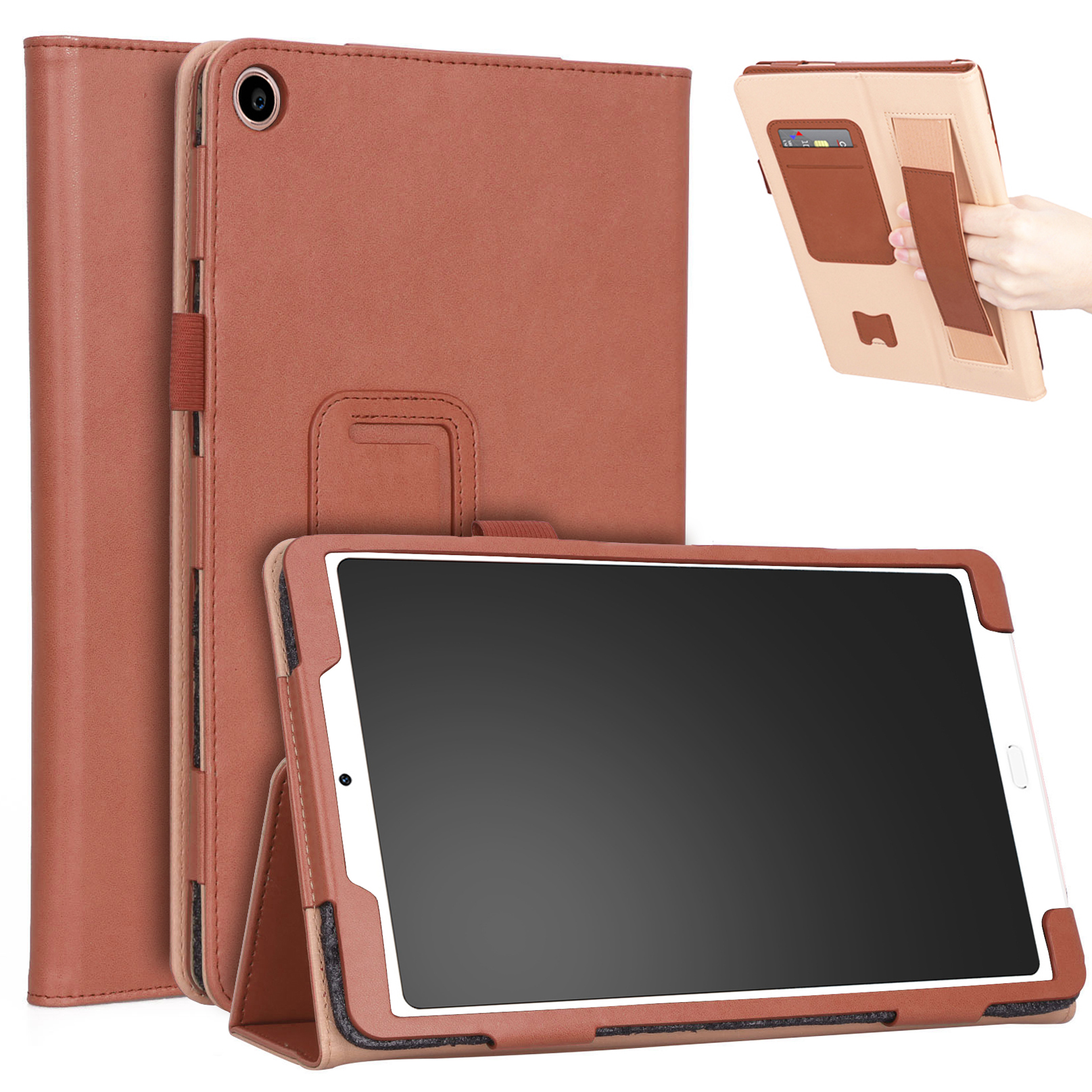 For Xiaomi tablet 4 plus 10.1 Retro Pattern PU Tablet Protective Case with Hand Support Card Slot Bracket Sleep Function brown_Xiaomi tablet 4 plus 10.1