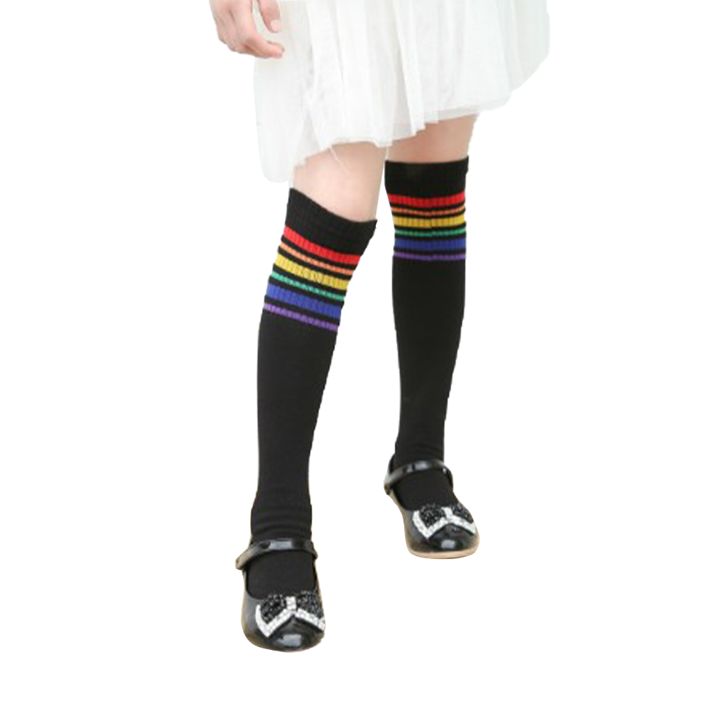 Girls'  Socks Rainbow Over-the-knee Cotton Mid-calf Length Socks for 2-6 Years Old  Kids black_M