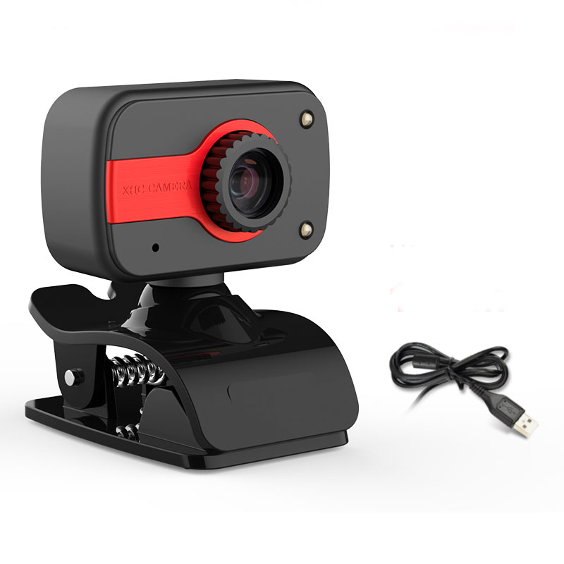 360 Degree USB 12M HD Webcam Web Cam Clip-on Digital Camcorder with Microphone for Laptop PC Computer red