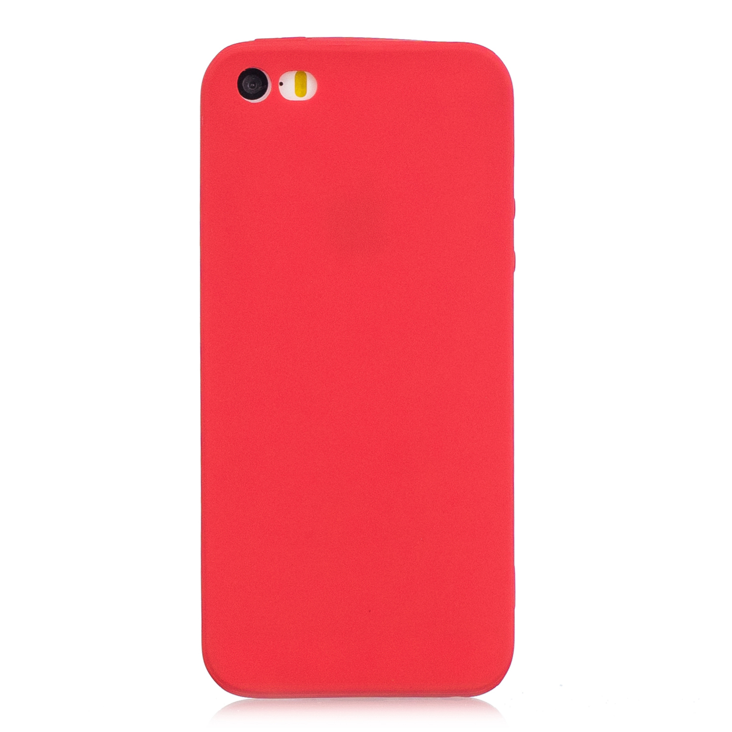 for iPhone 5/5S/SE Lovely Candy Color Matte TPU Anti-scratch Non-slip Protective Cover Back Case red