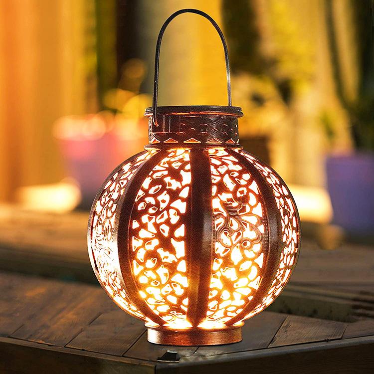 LED Hanging Solar Lanterns with Handle Outdoor Garden Lights Decoration Bronze