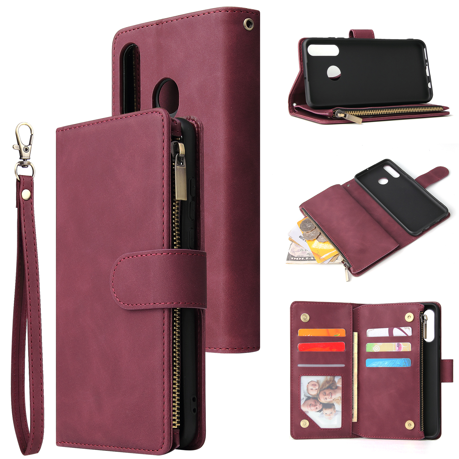 For HUAWEI P30 HUAWEI P30 lite HUAWEI P30 pro Multi-card Bracket Coin Wallet Zipper Mobile Phone PU Leather Phone Case  5 wine red