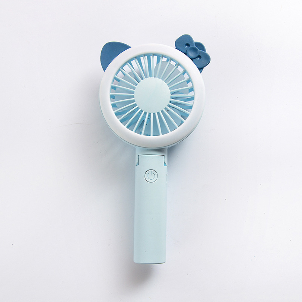 USB Mini Fan Cartoon Handheld Electric Creative USB Charging Fan blue pointed ear bow_21.*9cm