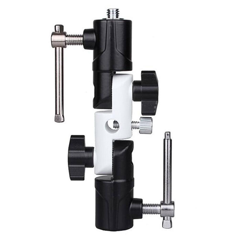 Camera Holder Bracket 3 Independent Adjustable U-shaped Flash Holders Integrated Metal Base Black