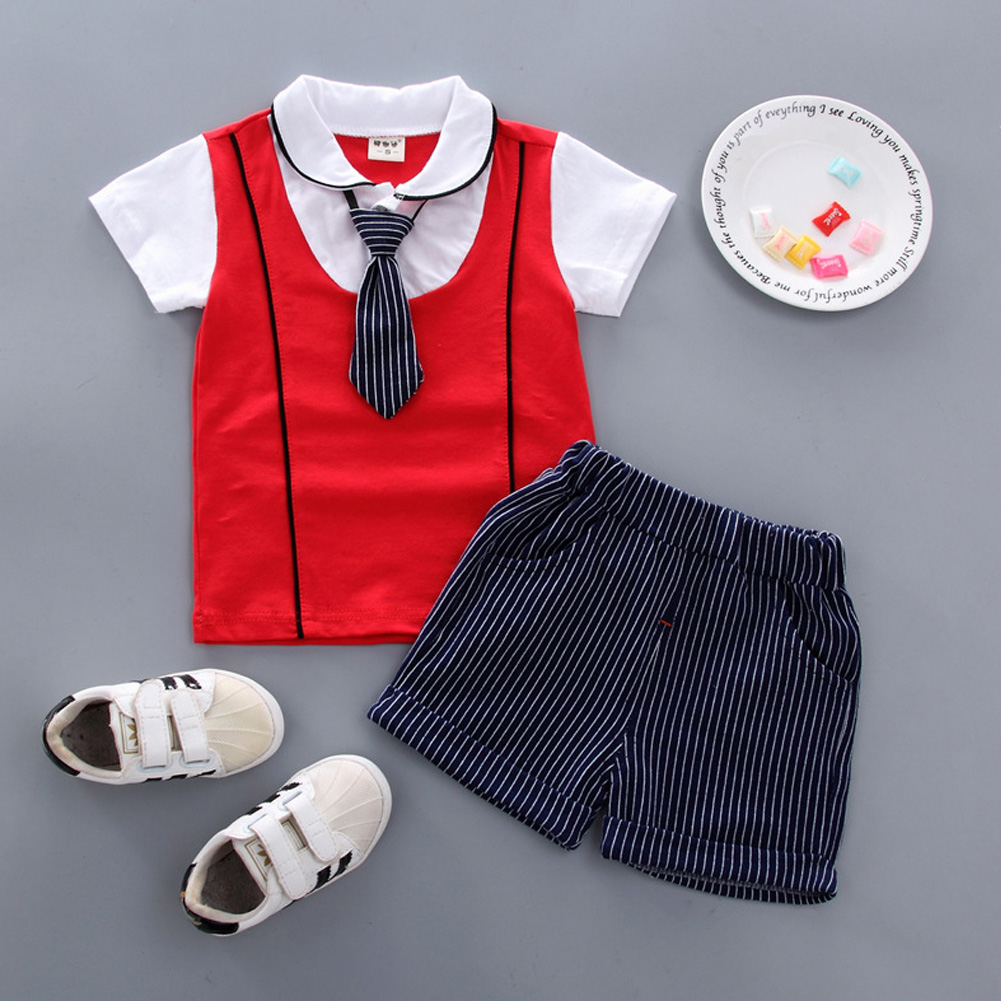 Children Boy Shirt Two-piece Set Baby Long Tie Short Sleeve Top and Shorts Fashionable Suit KY double led with red_90cm