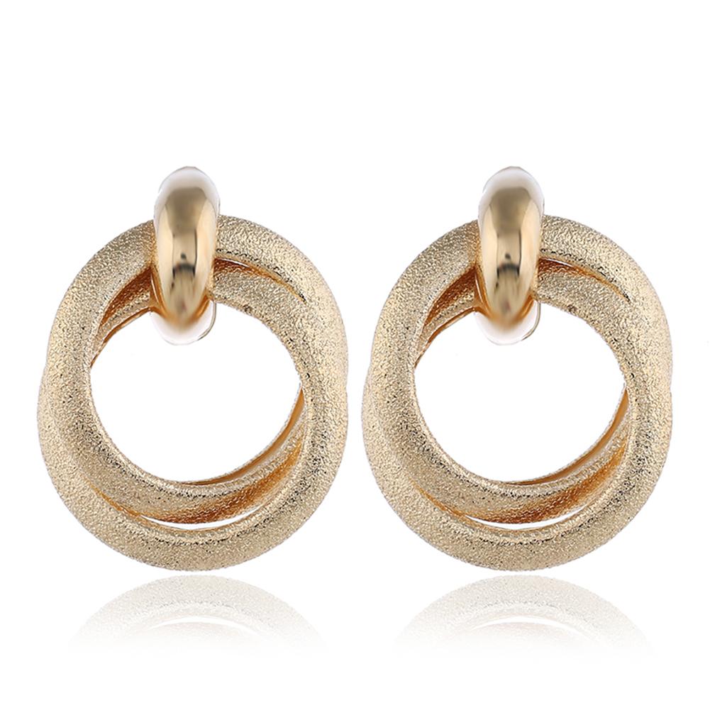 1 Pair Retro Matte Circle Earrings for Women Girl