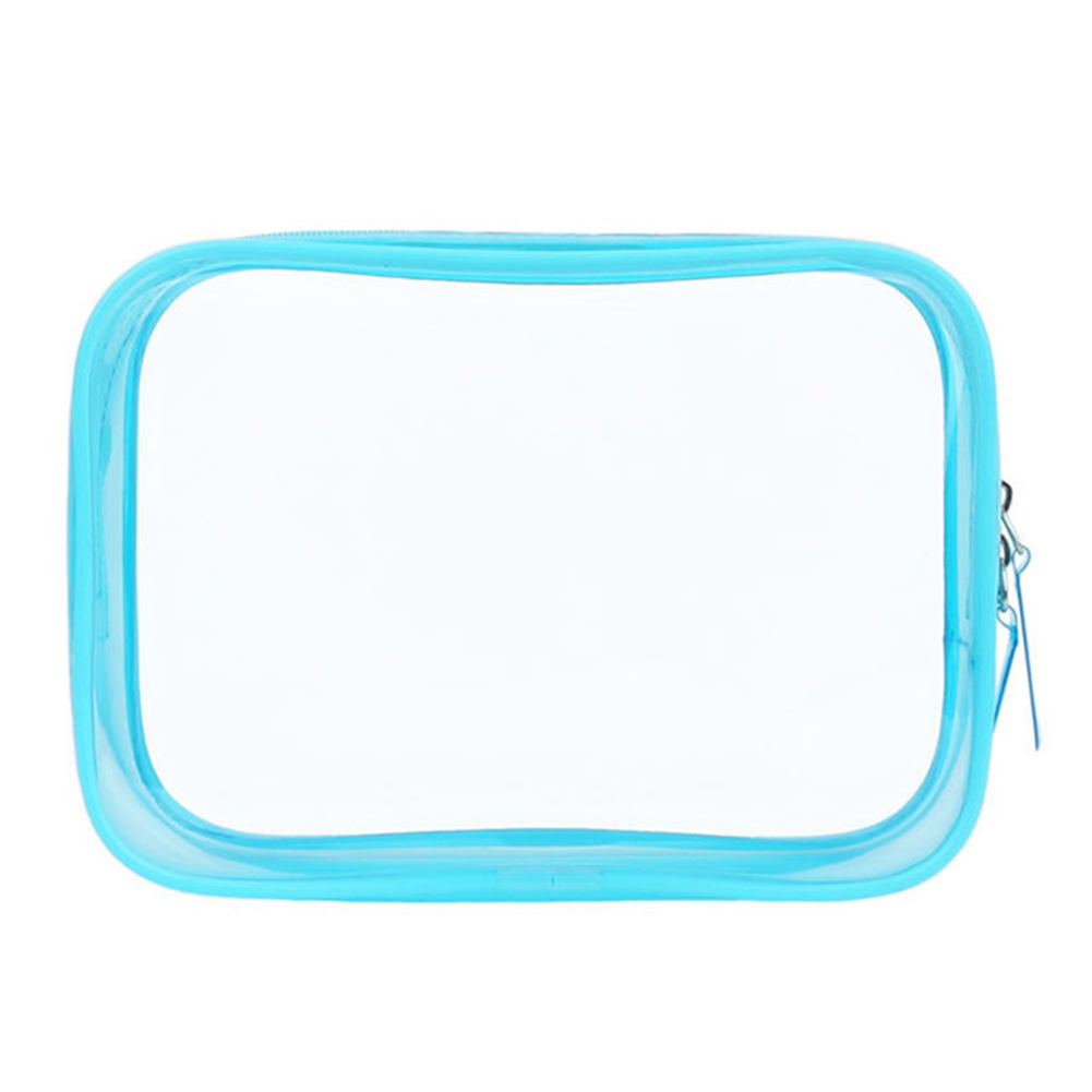 PVC Transparent Cosmetic Bag Zipper Clear Makeup Bags Beauty Case Make Up Organizer Storage Bath Toiletry Wash Bag sky blue