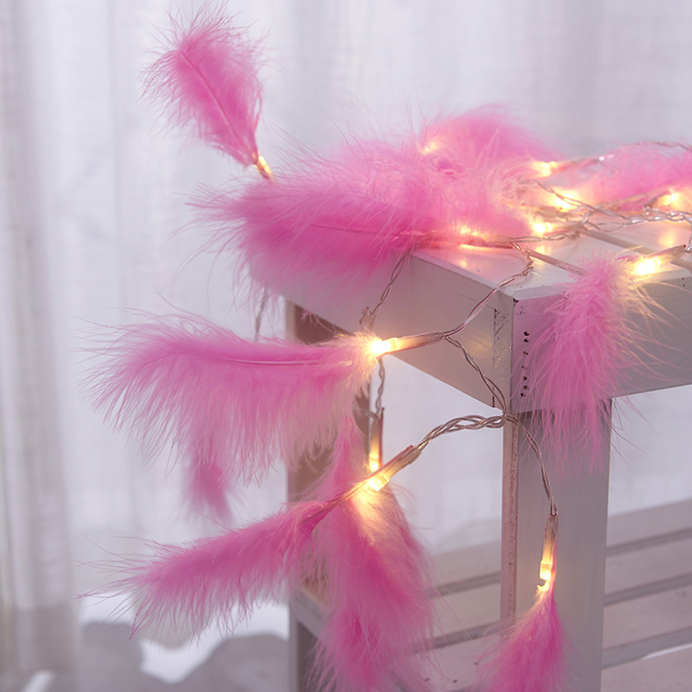 1.2M 10LEDs Feather String Light Night Light for Christmas Festivals Weddings Decoration pink feather_1.2 meters 10 lights