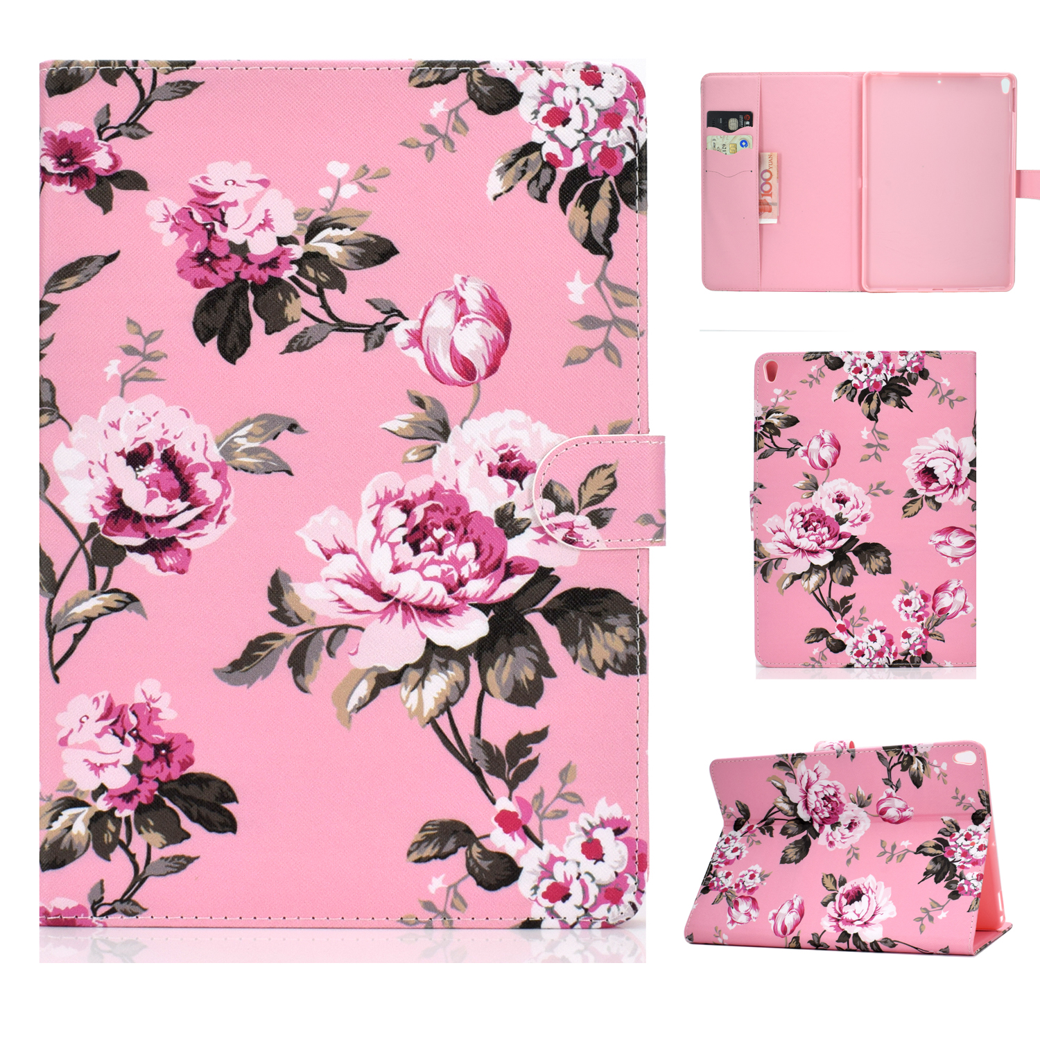 For iPad 10.5 2017/iPad 10.2 2019 Laptop Protective Case Color Painted Smart Stay PU Cover with Front Snap  Pink flower