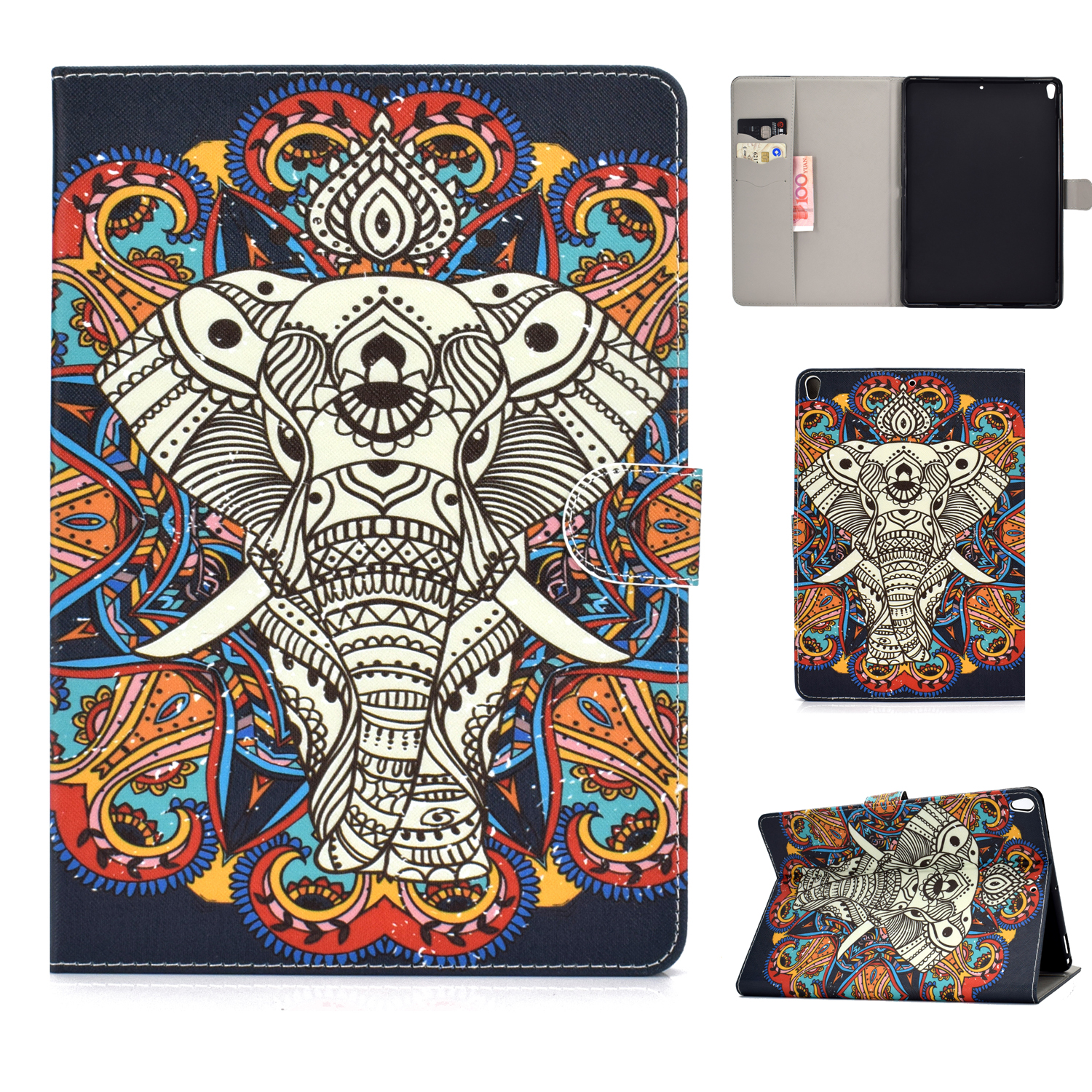 For iPad 10.5 2017/iPad 10.2 2019 Laptop Protective Case Color Painted Smart Stay PU Cover with Front Snap  Fun elephant