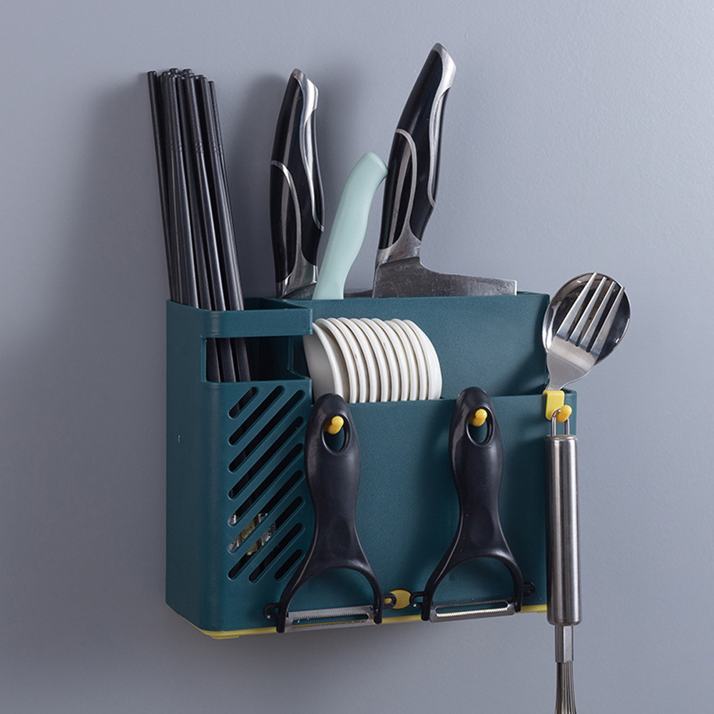 Wall-mounted Drain Holder Multifunction Kitchen Tableware Spoon Cutter Storage Towel Rack Moran