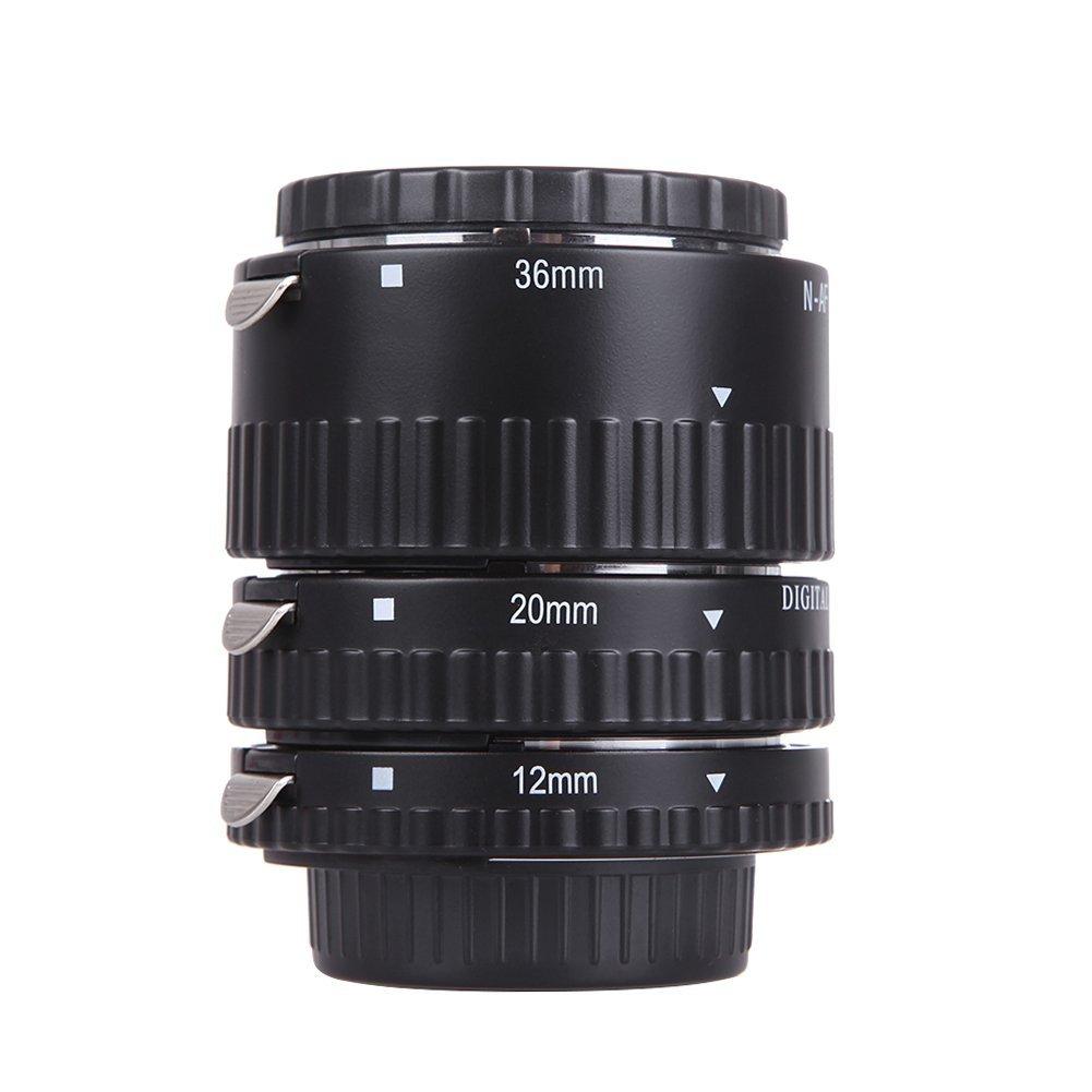 Auto Focus Macro Extension Tube Set Metal Mount for Nikon AF AF-S DX FX SLR Cameras  black