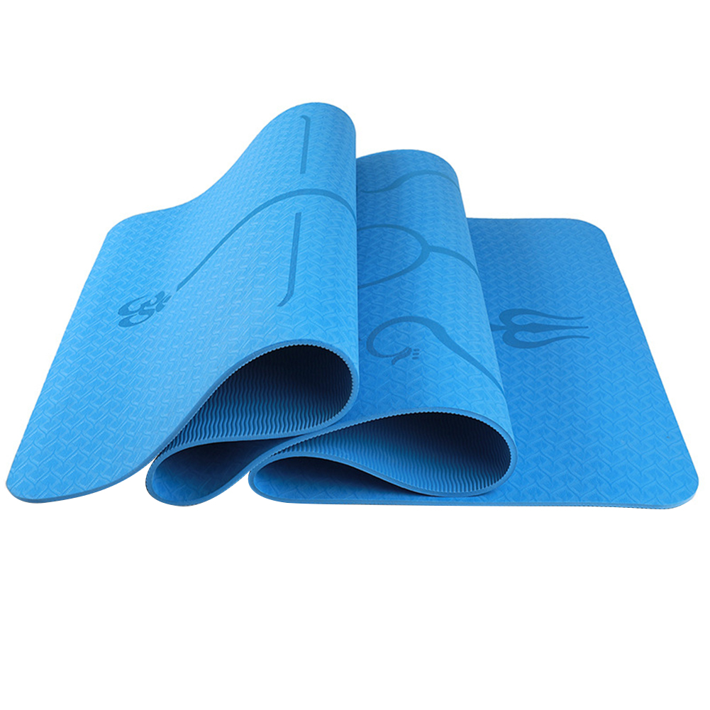 6mm Multi-functional Environmental Protection Yoga Pad TPE Yoga Mat Fitness Pad Body Line Style Lake Blue_183*61*0.6 body position line