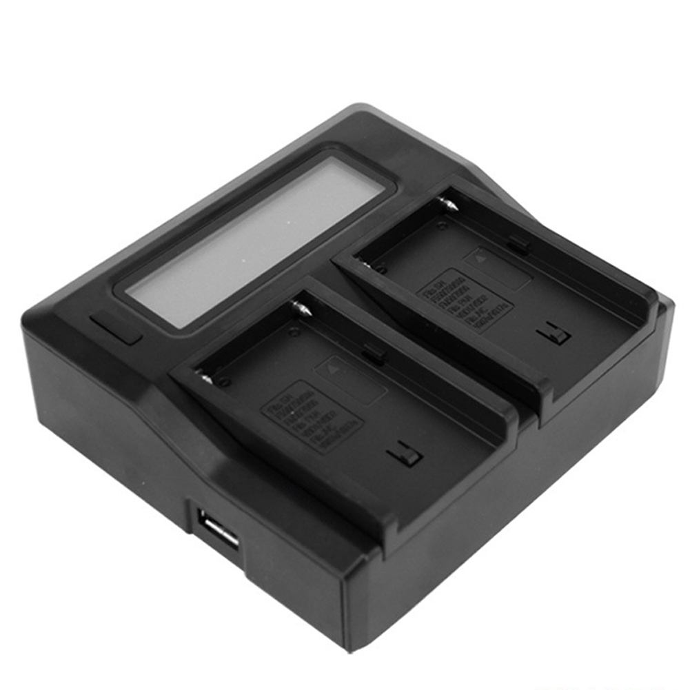 Dual Channel Digital Camera Battery Charger with LCD Display for NP-F770 F750 F550 F960 European Plug