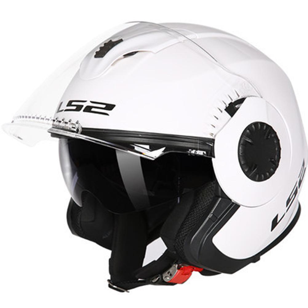 LS2 OF570 Helmet Dual Lens Half Covered Riding Helmet for Women and Men Motorcycle Helmet Casque Bright white XXXL