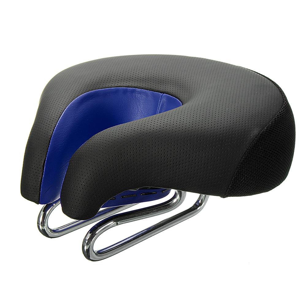 Wide Bicycle Bike Seat No Nose Mountain Bike Saddle Comfortable Cycling Saddle Cushion High Resilience Black blue_Average size