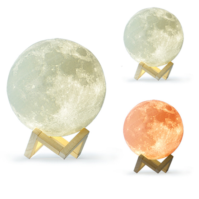3D Moon Shaped Lamp Moonlight Colorful Touch USB LED Night Light Decor Home Decor Gift 2 colors (without remote control)_10cm