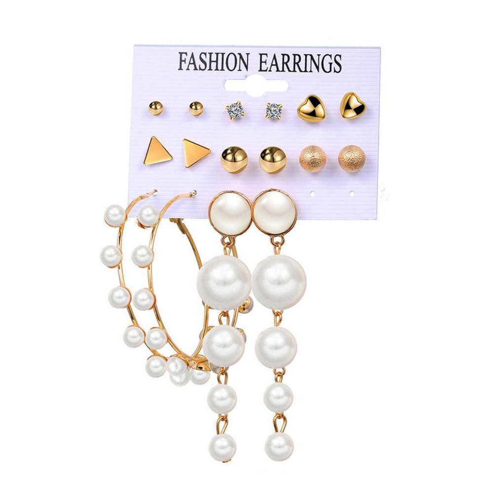 8 Pair of Women's Earrings Pearl Ring Simple Style Earrings Set Golden