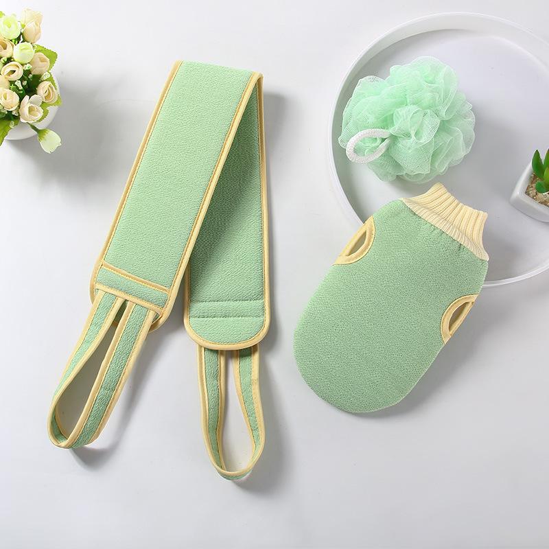 3pcs Adults wash towel Cleaning the back Bath towel bar+ Bath Sponge+ bath gloves Dead Skin Removal matcha