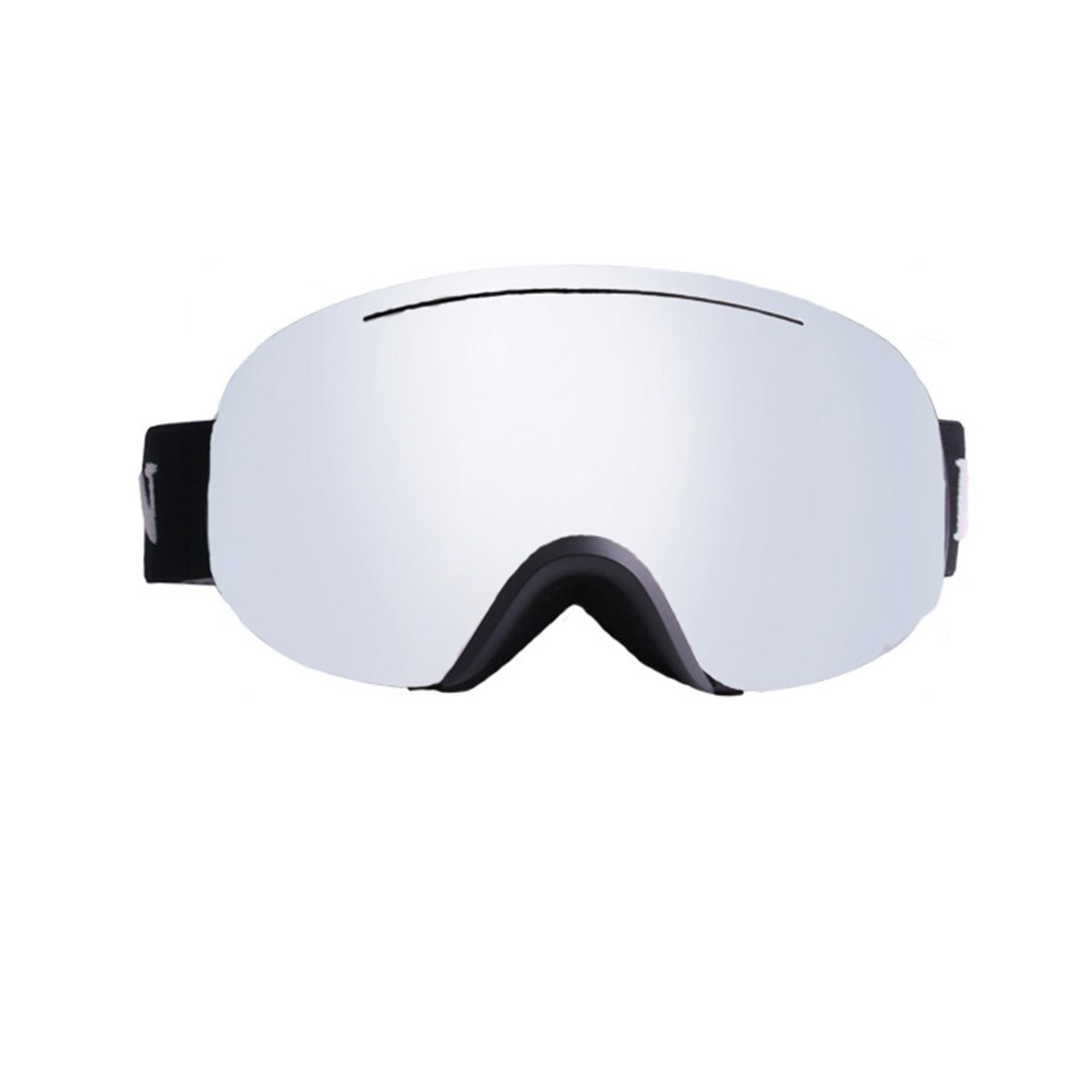 Professional Double Layers Anti-Fog Large Spherical Outdoor Activities Ski Hiking Goggles Glasses Black Frame Silver