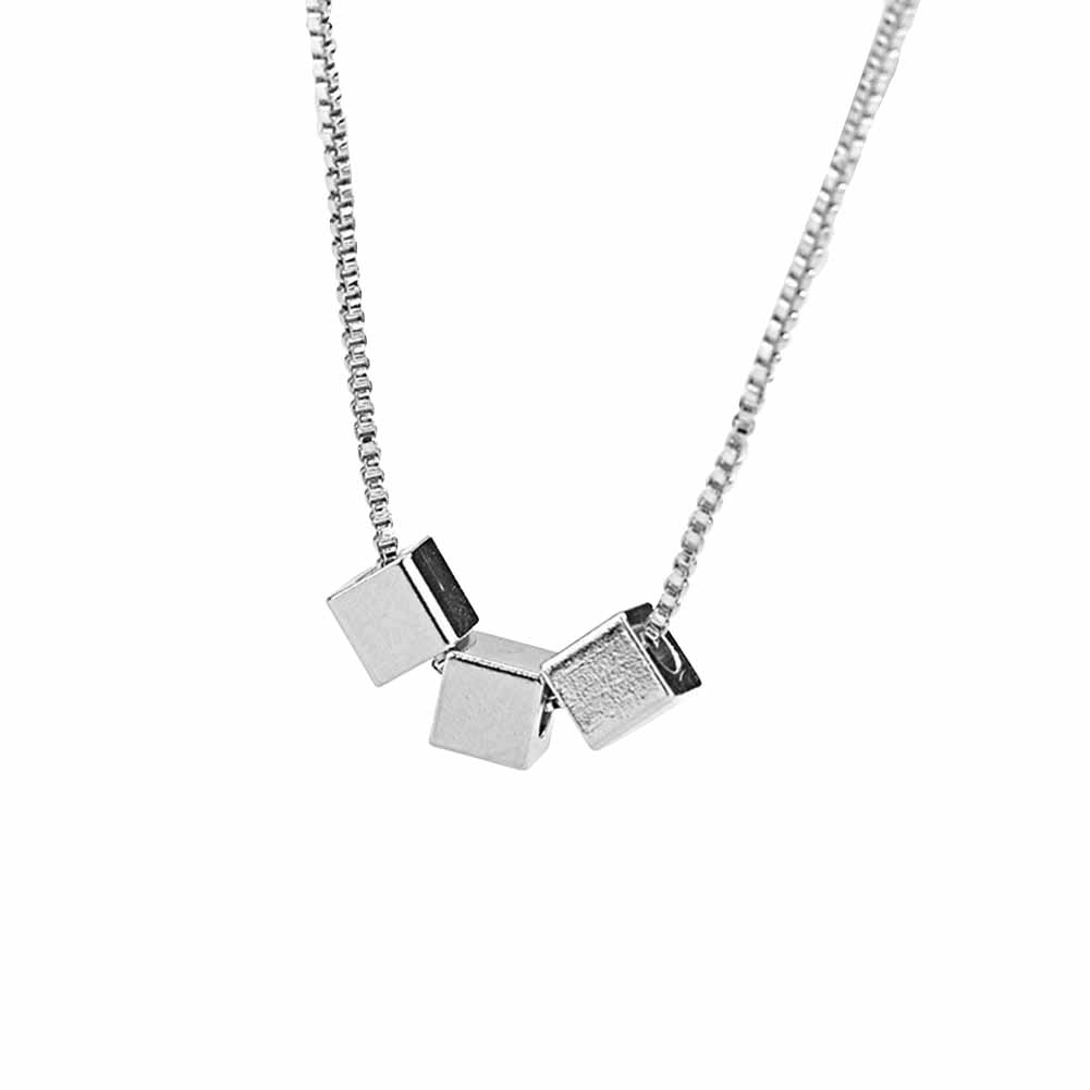 Women Girls Copper Necklace With Square Pendant Sweet Clavicle Chain white gold