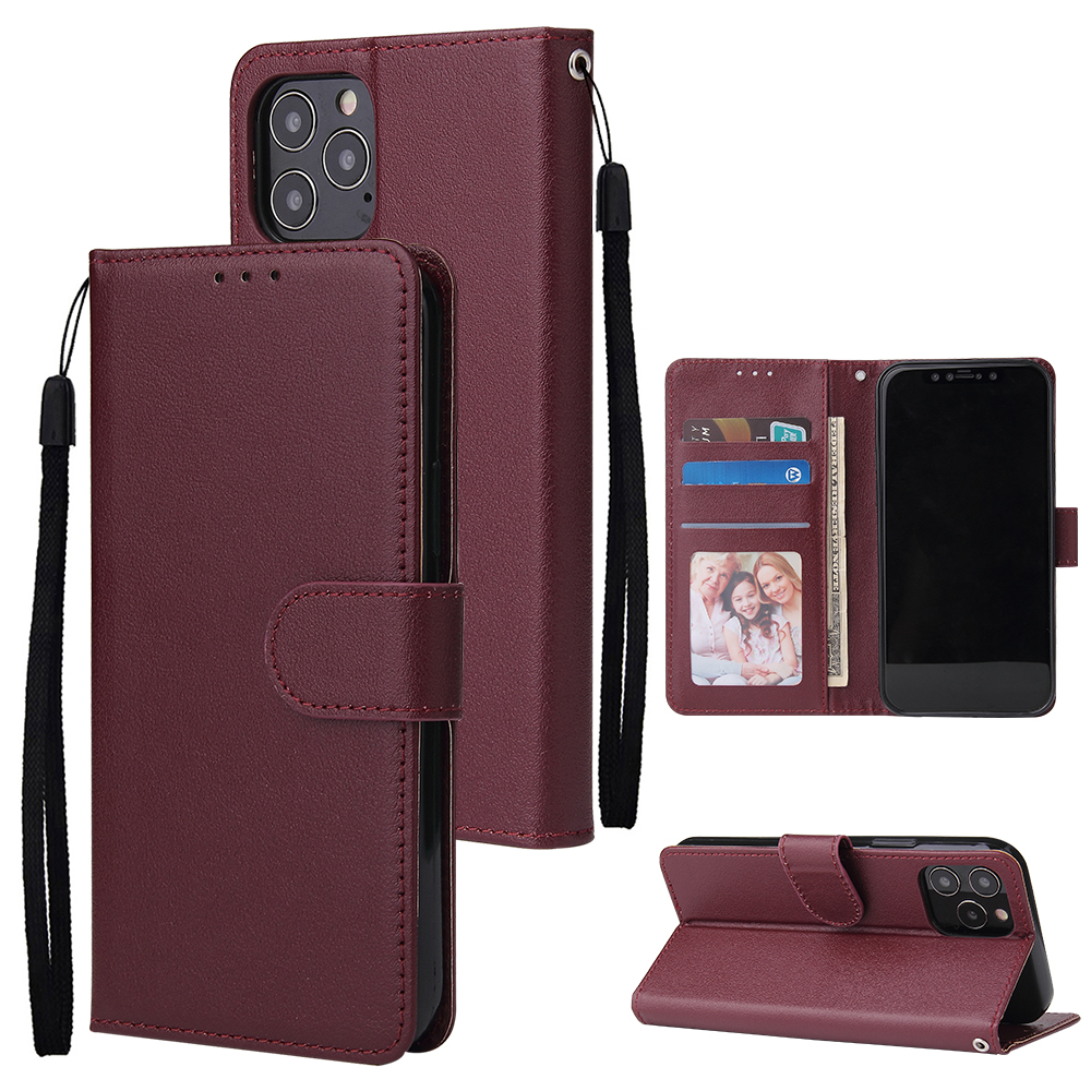 For Iphone 12 5.4 inch/6.1 inch/ 6.7 inch PU Leather Three-card Photo Frame Front Buckle Mobile Phone shell Red wine