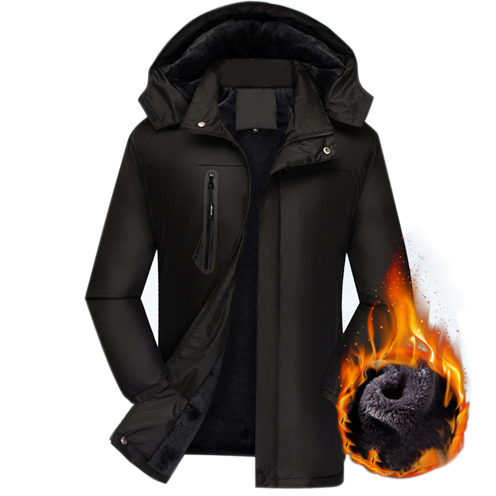 Men's Jackets Autumn and Winter Thick Waterproof Windproof Warm Mountaineering Ski Clothes black_L