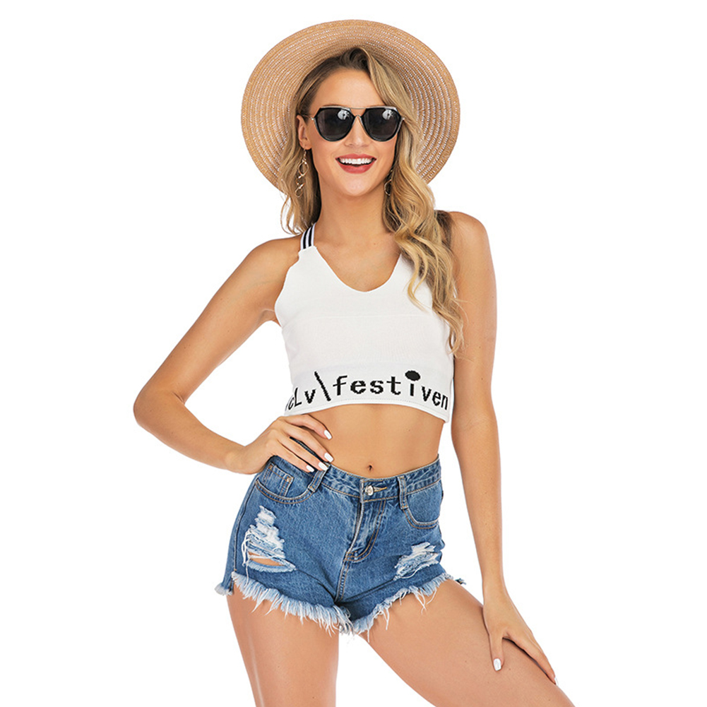 Women Vest Crop Top Cross Sling Backless Letter Print Sexy Slim Lady Camisole White_L