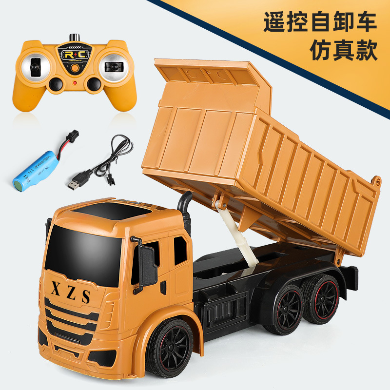 Super Power RC Car Tipper Dump Truck Model Remote Control Alloy Engineering Vehicle Beach Toys Kids Boys Birthday Xmas Gifts yellow_1:14