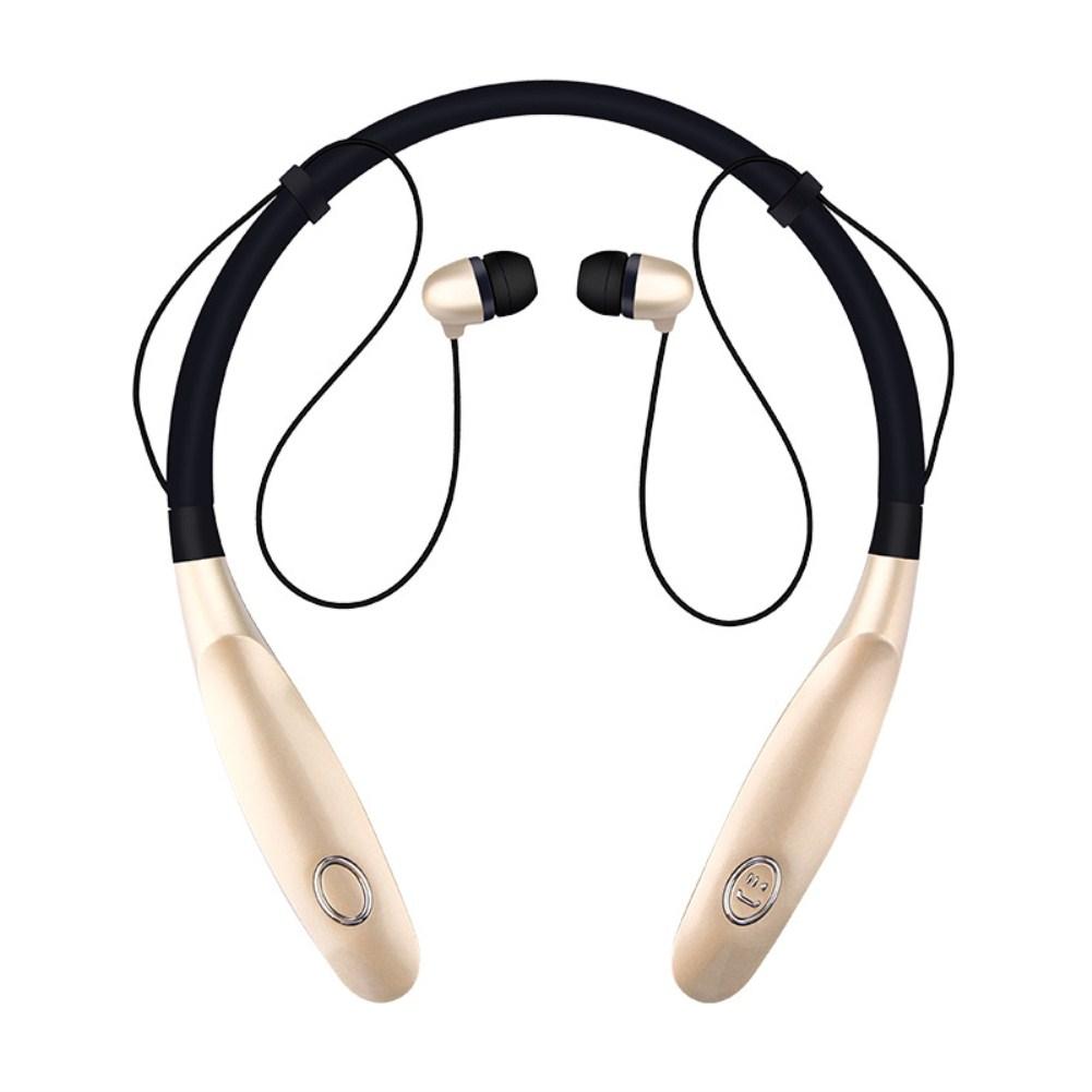 TWS Bluetooth Earphone Wireless Headphones Hanging Neck Type Sports Earbuds gold