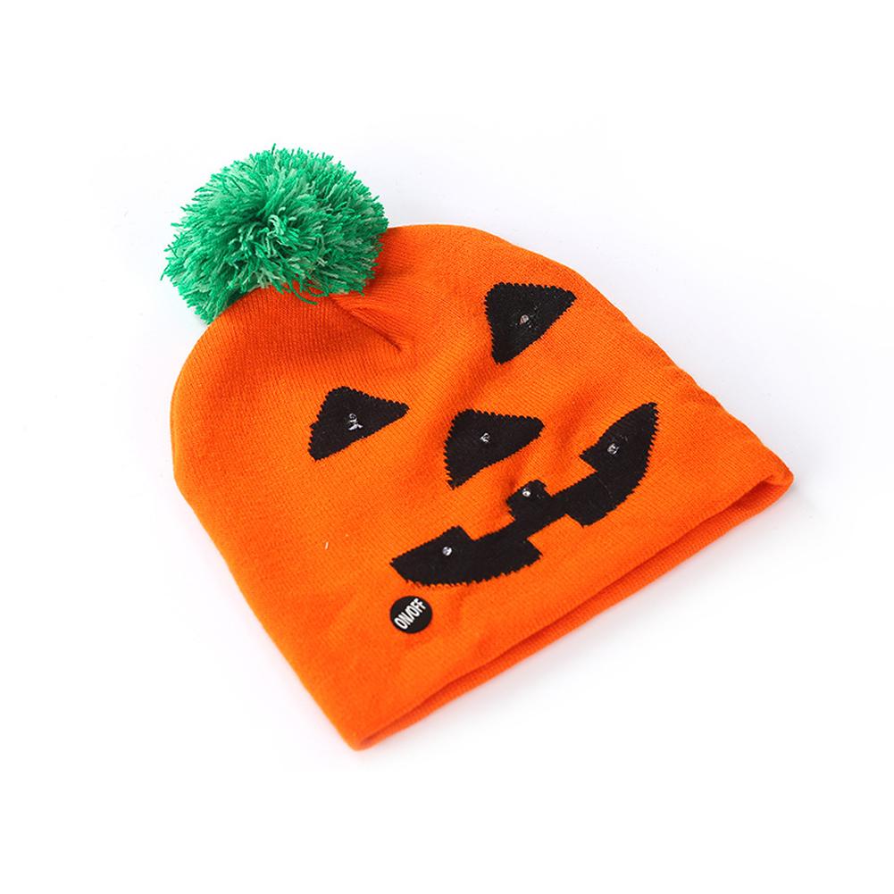Halloween Pumpkin Ghost Knit Hat with Light Stretchable Unisex Adults Kids Children Pumpkin_20*21CM